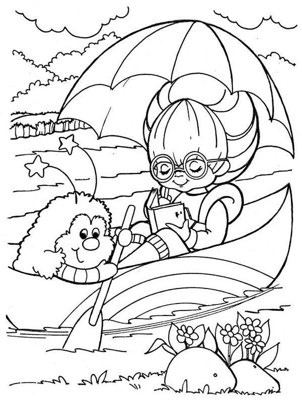 Rainbow Brite, : Rainbow Brite Reading Book on Canoe with Twink Coloring Page