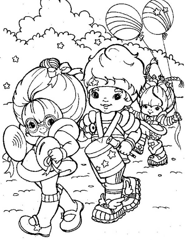 Rainbow Brite, : Rainbow Brite and Red Butler and Green Grange Doing Parade Coloring Page