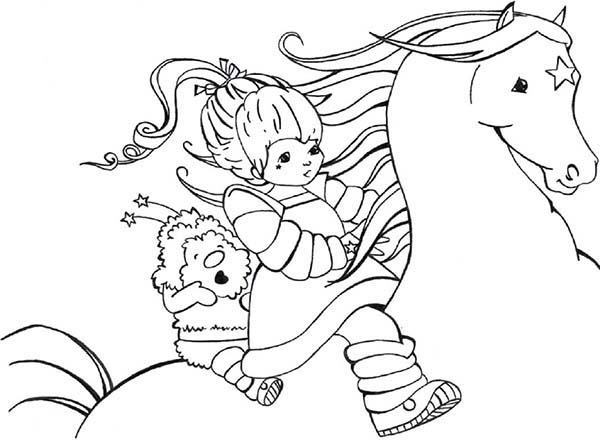 Rainbow Brite, : Rainbow Brite and Twink Ride Beautiful Starlite Coloring Page