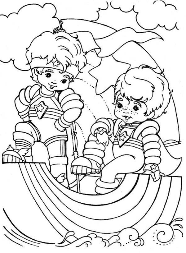 Red Butler And Buddy Blue In Rainbow Brite Coloring Page Color Luna - rainbow bright printable coloring pages