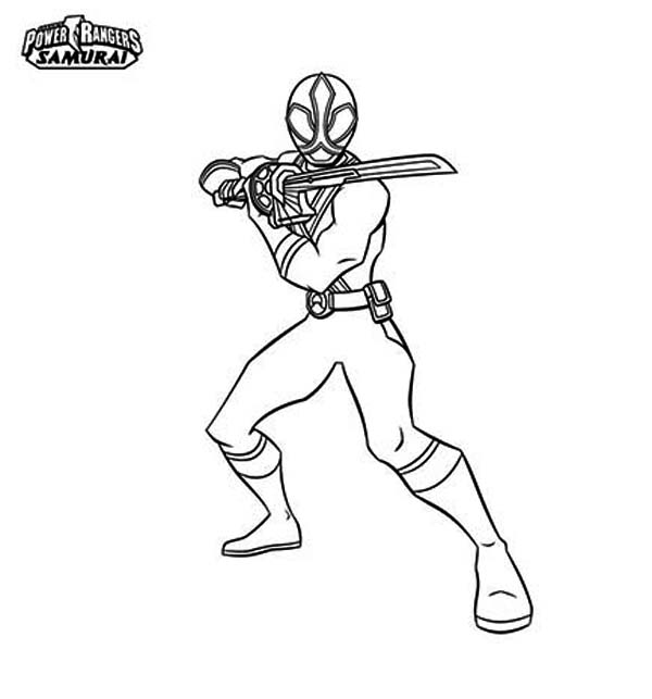 Red Ranger Hold Katana in Power Rangers Samurai Coloring Page ...