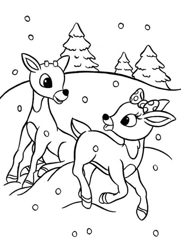 rudolph and clarice are santas the reindeer coloring page - Santa Reindeer Coloring Pages
