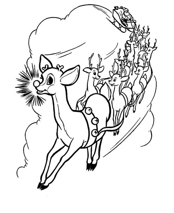 Rudolph, : Rudolph and Friends Pull Santas Carriage Coloring Page