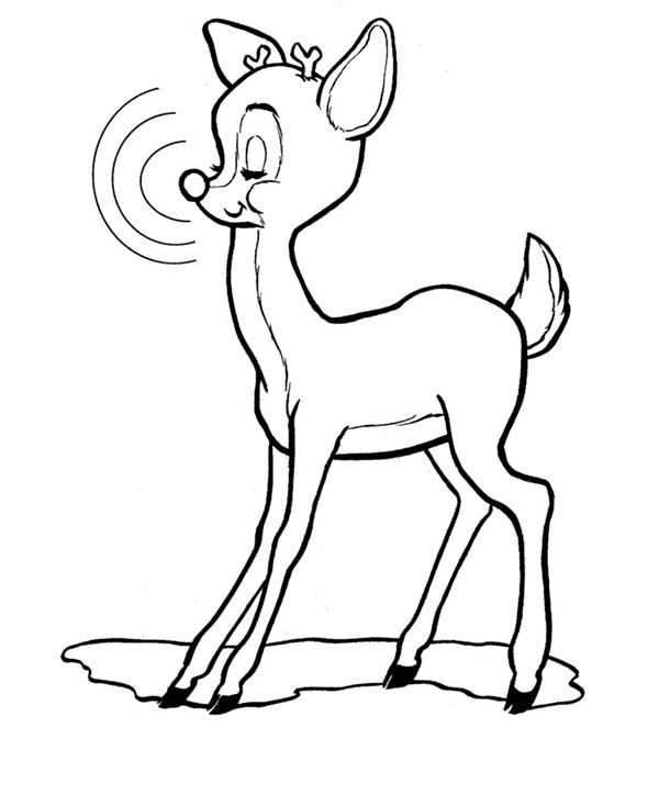 Rudolph, : Rudolph the Red Nosed Reindeer Closed His Eyes Coloring Page