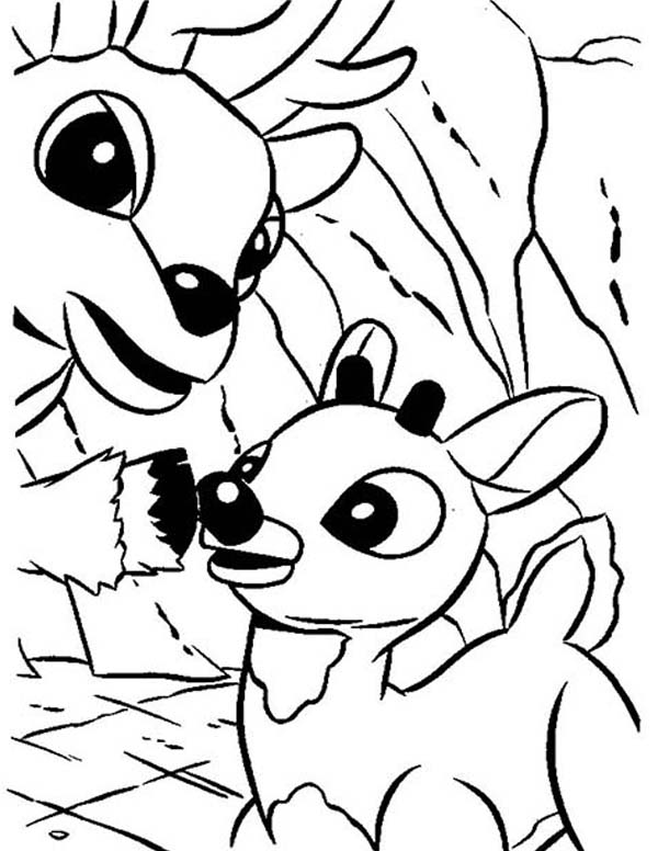 Rudolph, : Rudolph the Red Nosed and Donner Coloring Page