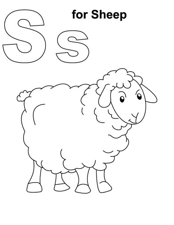 Shaun the Sheep, : S is for Shaun the Sheep Coloring Page