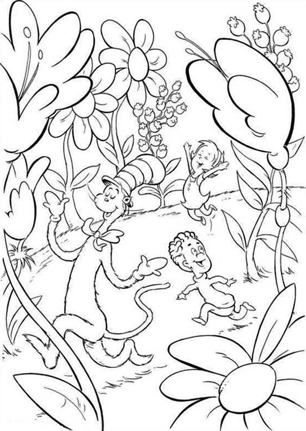 Sally and her brother walk outside the house dr seuss the for Dr suess coloring page