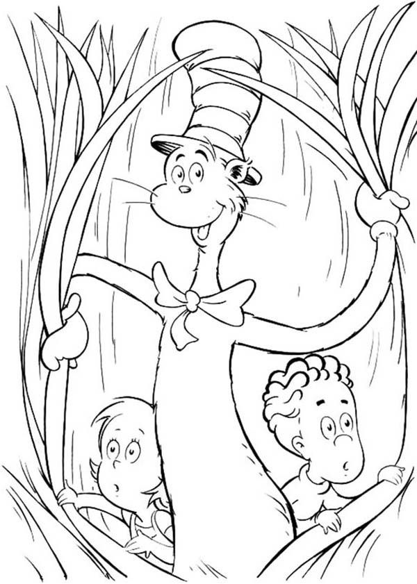 The Cat in the Hat, : Sally and Her Brother with the Cat in the Hat Coloring Page
