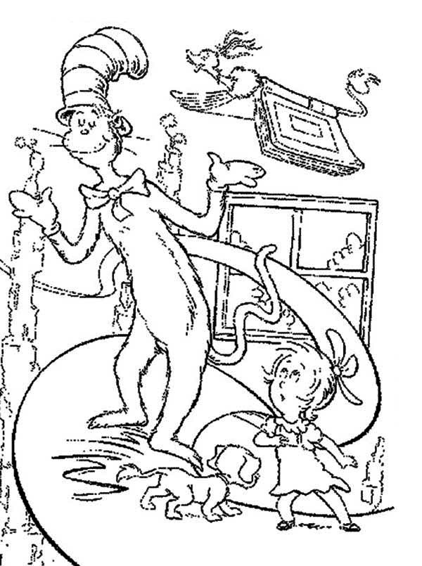 The Cat in the Hat, : Sally and the Cat in the Hat Saw Flying Book Coloring Page