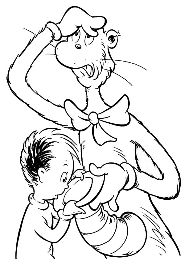 The Cat in the Hat, : Sallys Brother Looking for Something in The Cat in the Hat Coloring Page