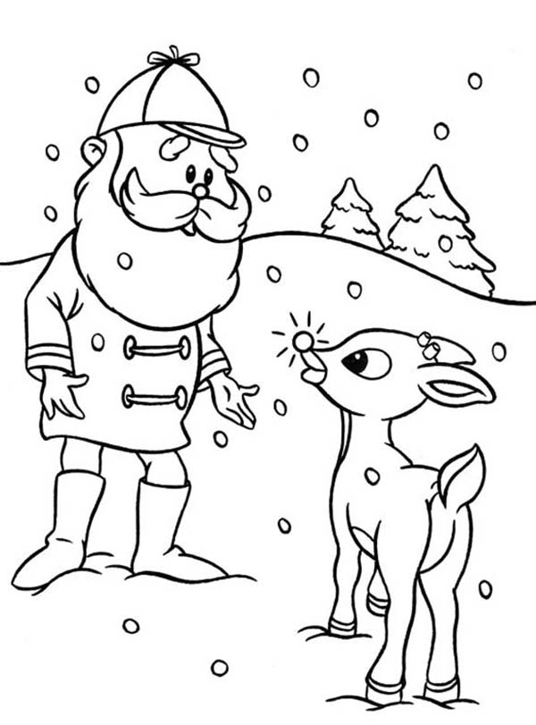 Santa Ask Rudolph the Red Nosed to Lead Other Reindeer Coloring Page
