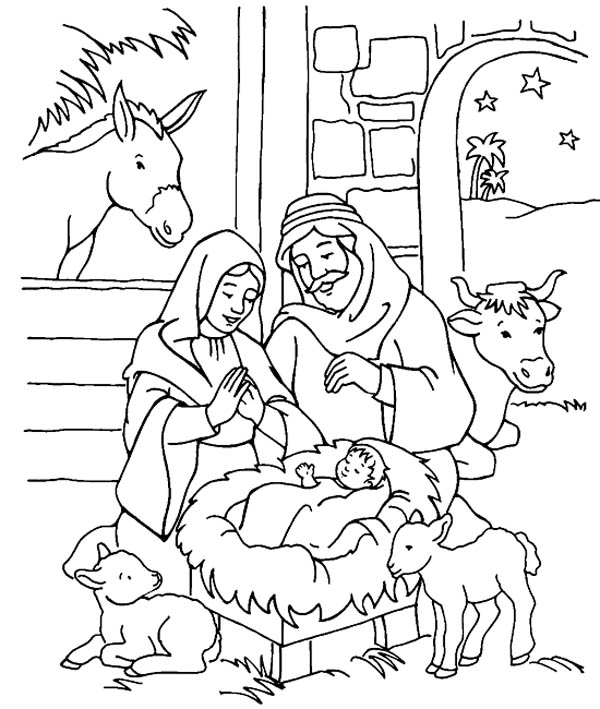 Jesus Is Born Coloring Pages Scenery Of Nativity In Jesus Christ Coloring Page  Color Luna