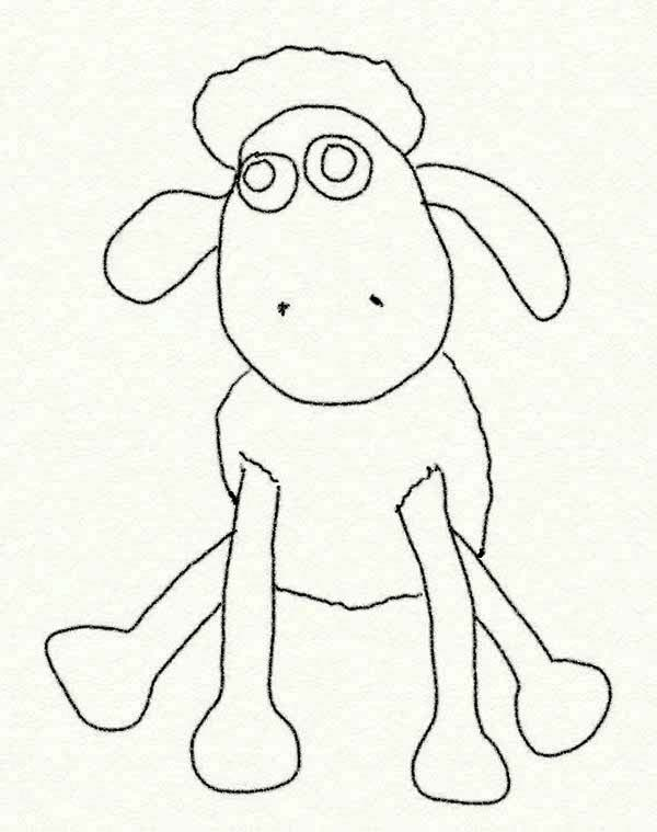 Shaun the Sheep, : Shaun the Sheep Coloring Page for Kids