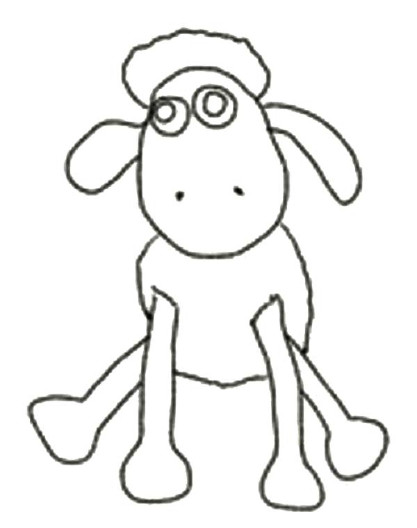 Shaun the Sheep, : Shaun the Sheep Outline Coloring Page