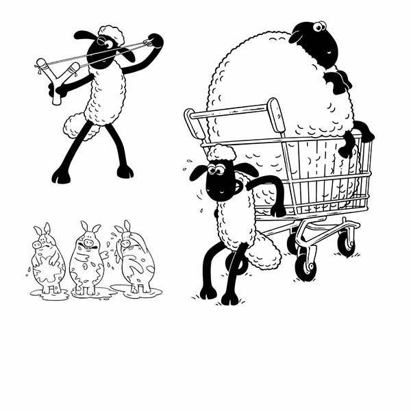 shaun the sheep pulling cart coloring page - Sheep Coloring Page