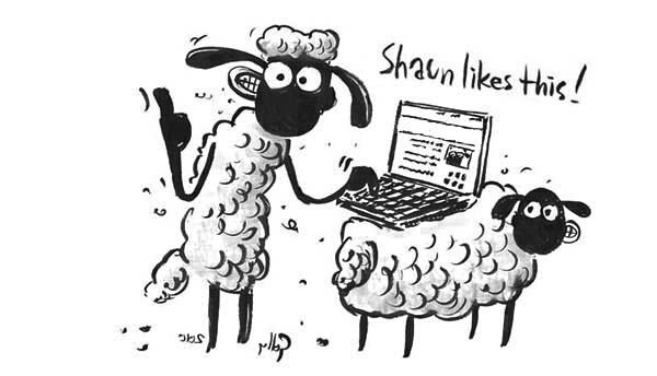 Shaun The Sheep Typing With Notebook Coloring Page