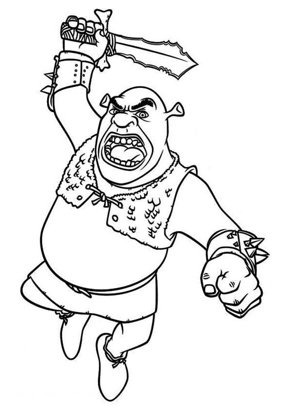 Shrek, : Shrek Swing His Sword Coloring Page