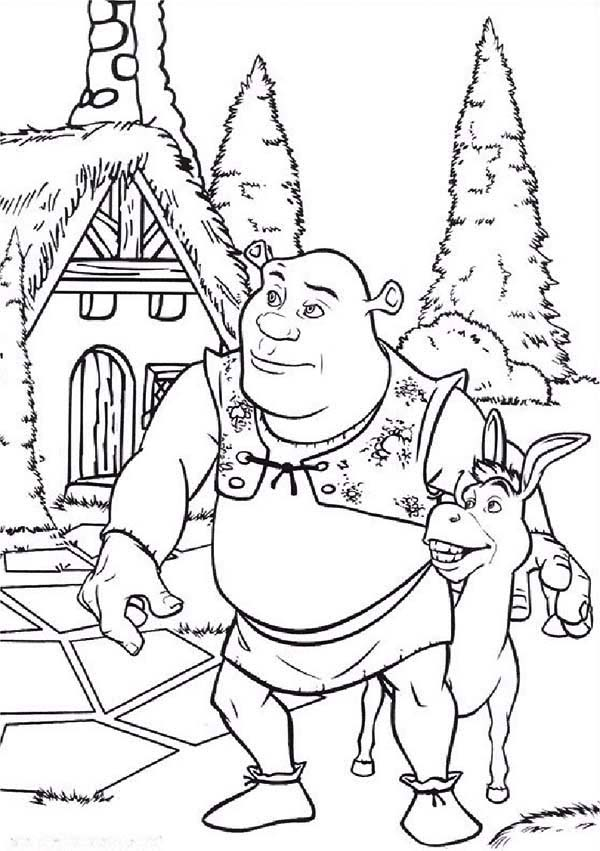 Shrek, : Shrek and Donkey Coloring Page
