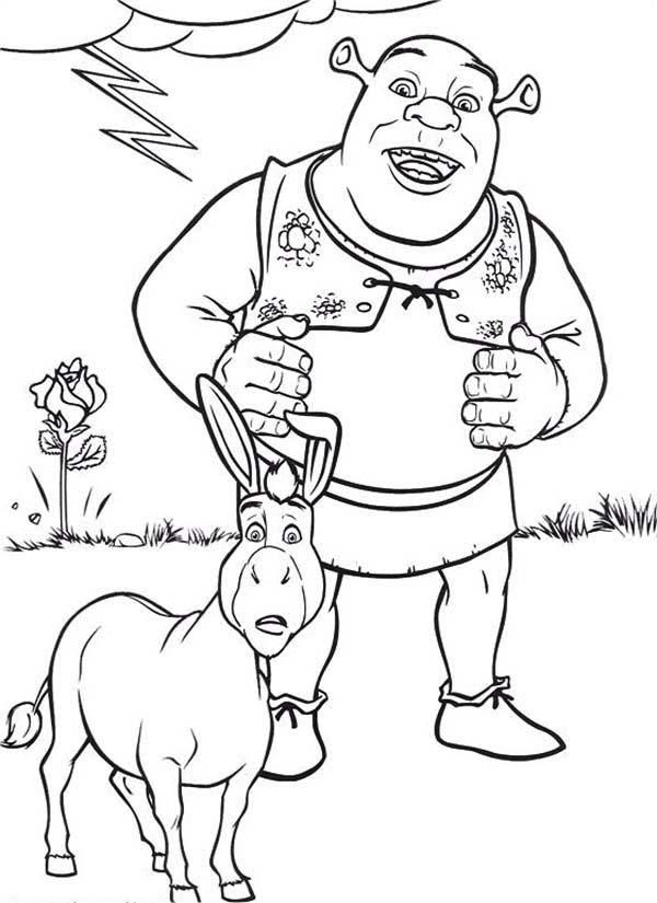 Shrek, : Shrek and Donkey are Amazed Coloring Page
