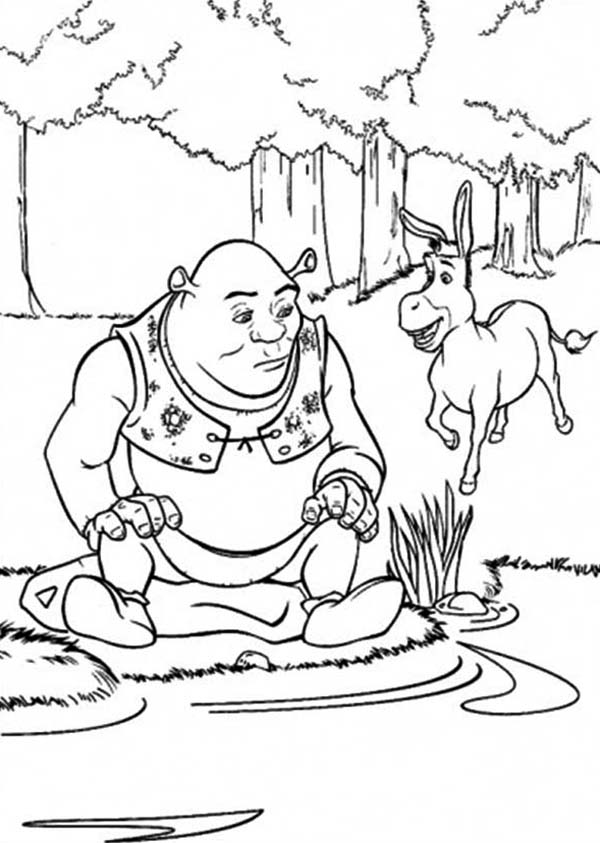 Shrek, : Shrek and Donkey at Side of Lake Coloring Page