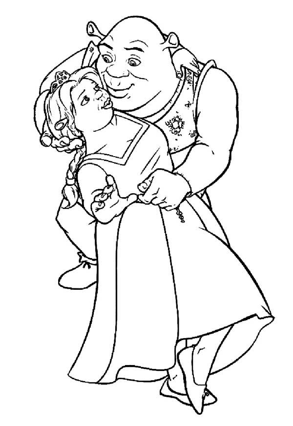 Shrek, : Shrek and Princess Fiona Do the Tango Coloring Page
