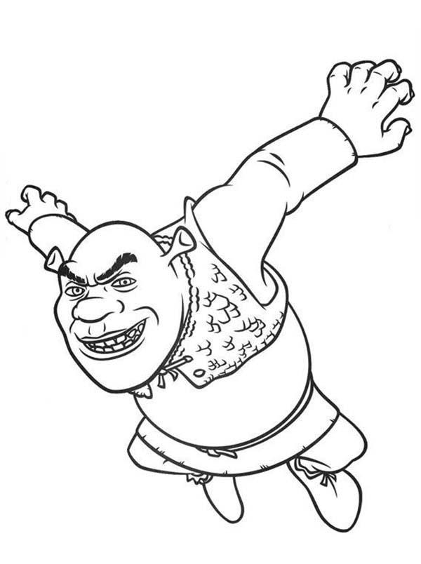 Shrek, : Shrek is Jumping Coloring Page