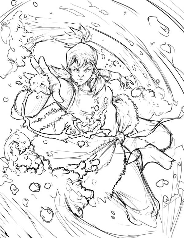The Legend of Korra, : Sketch of Avatar Korra Doing Water Bending Coloring Page