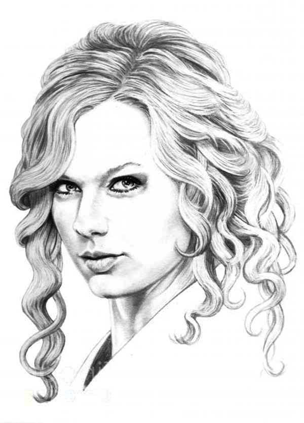 Charmant Sketching Taylor Swift Coloring Page