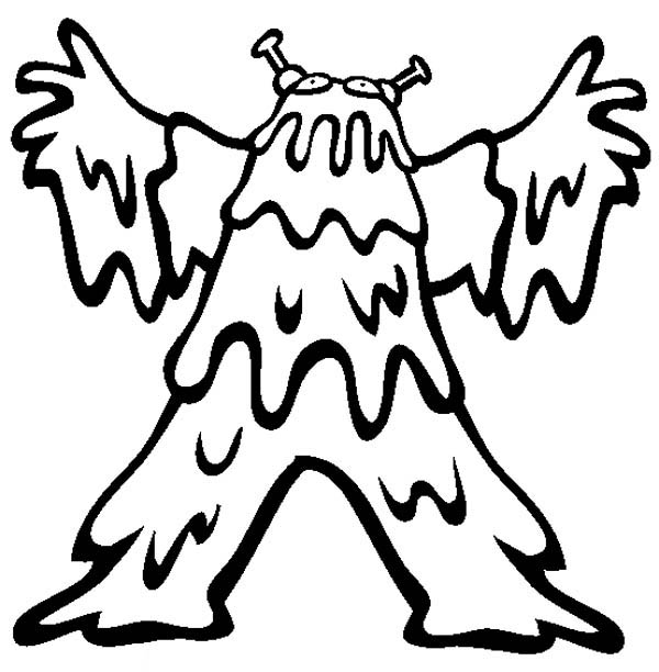 slimy monster costume coloring page