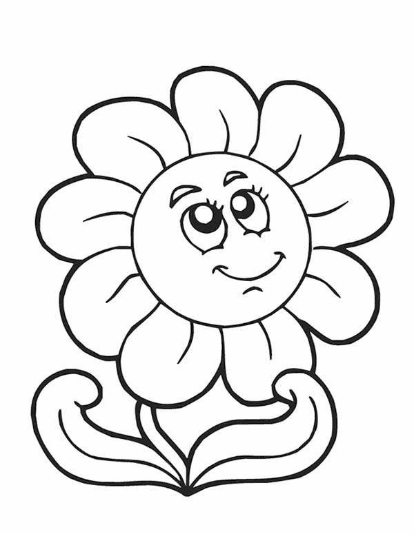 Smiling Spring Flower Coloring Page | Color Luna
