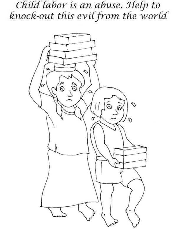 Labor Day, : Stop Children Labor in Labor Day Coloring Page
