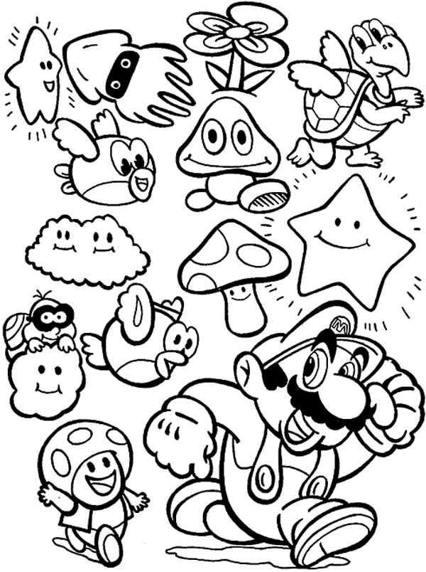 Super mario brothers all characters coloring page color luna for Super mario 64 coloring pages