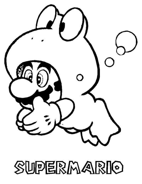 Mario Brothers, : Super Mario Brothers Glaxy Dive with Forg Costume Coloring Page