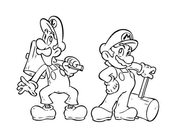 Mario Brothers, : Super Mario Brothers Holding Wooden Hammer Coloring Page