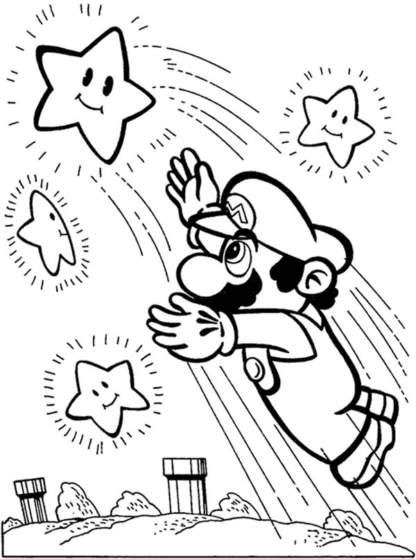 Mario Brothers Super Reach The Stars Coloring Page