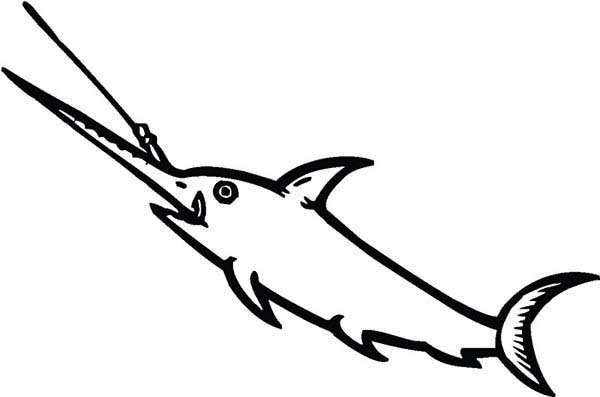 Swordfish, : Swordfish Eating Fisherman Bait Coloring Page