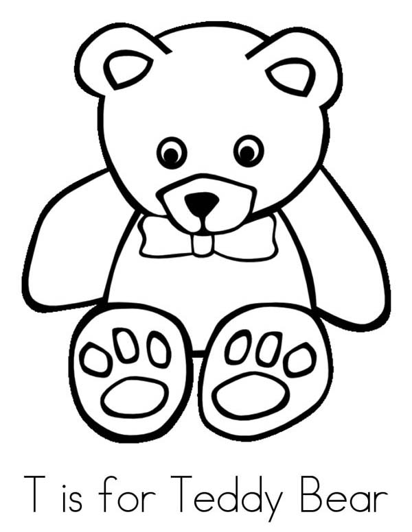 Teddy Bear, : T is for Teddy Bear Coloring Page