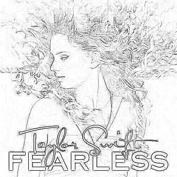 Taylor Swift, : Taylor Swift Album Fearless Coloring Page