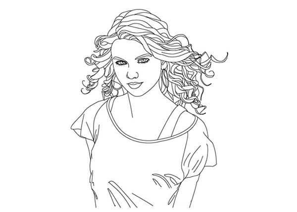 Taylor Swift Coloring Page For Kids