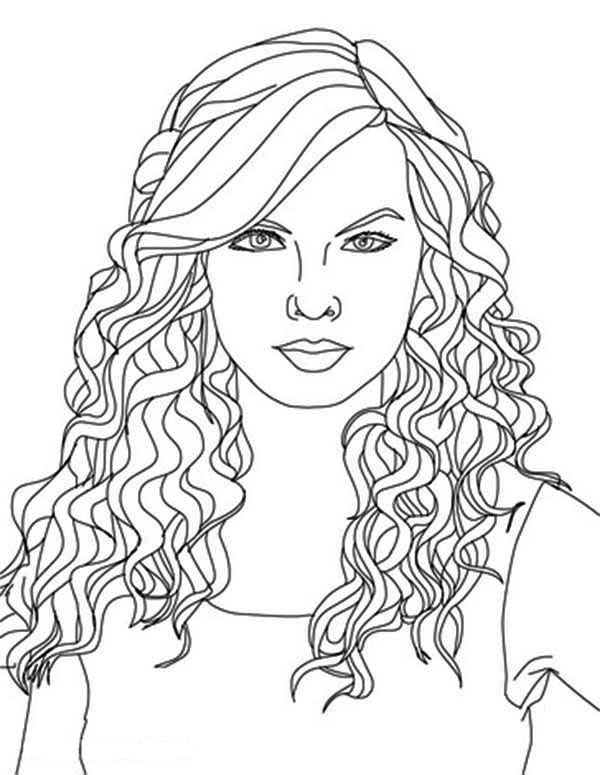 Taylor Swift, : Taylor Swift Curly Hair Coloring Page