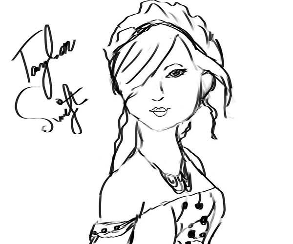 Taylor Swift, : Taylor Swift Photo with Autograph Coloring Page