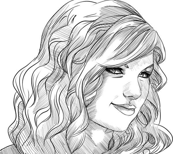Taylor Swift, : Taylor Swift Smile Coloring Page