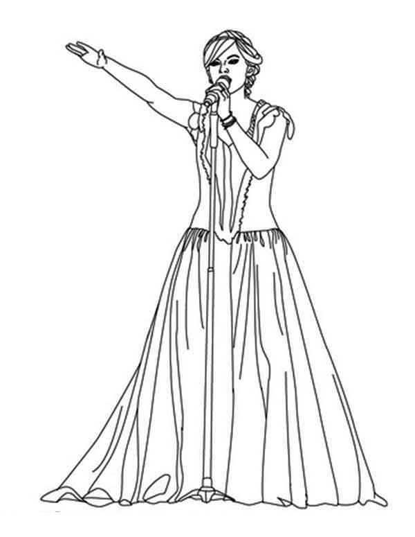 Taylor Swift, : Taylor Swift in Lovely Dress Coloring Page