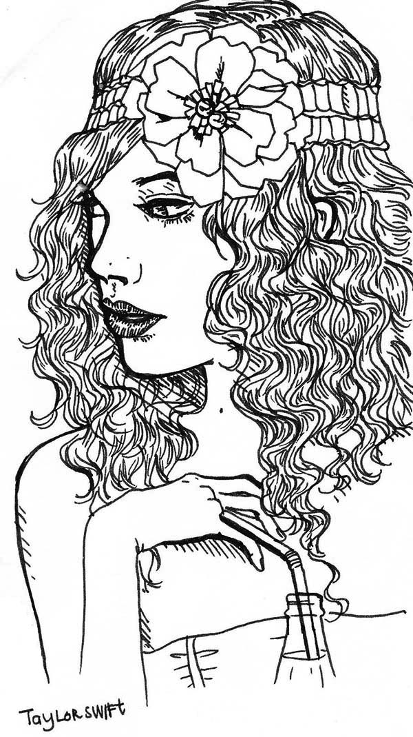 Taylor Swift, : Taylor Swift with Flower on Her Hair Coloring Page