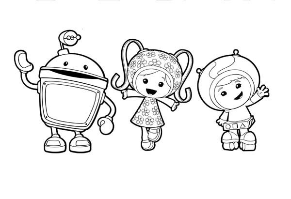 Team Umizoomi Greeting You All Guys Coloring Page | Color Luna