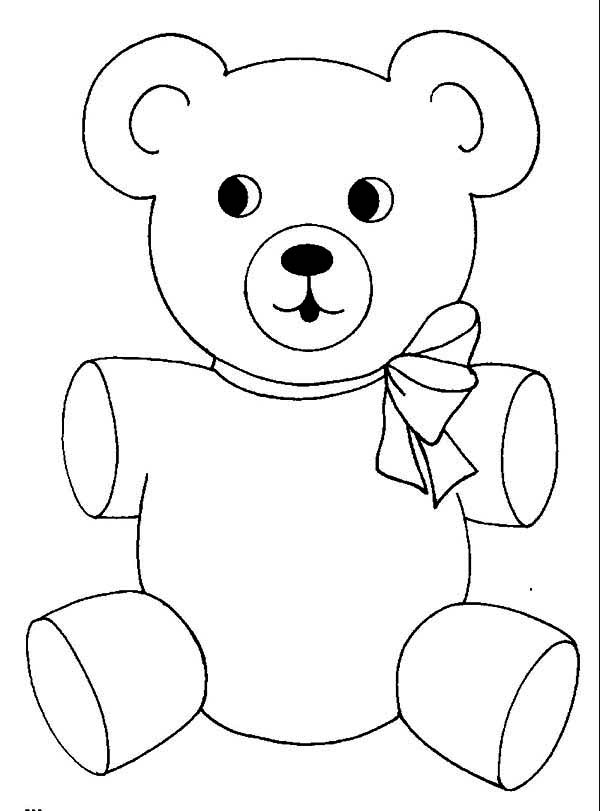 Teddy Bear, : Teddy Bear Wear Cute Ribbon Coloring Page