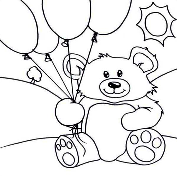 Teddy Bear, : Teddy Bear and Balloons Coloring Page