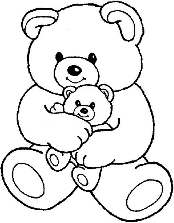 Teddy Bear, : Teddy Bear and Little One Coloring Page