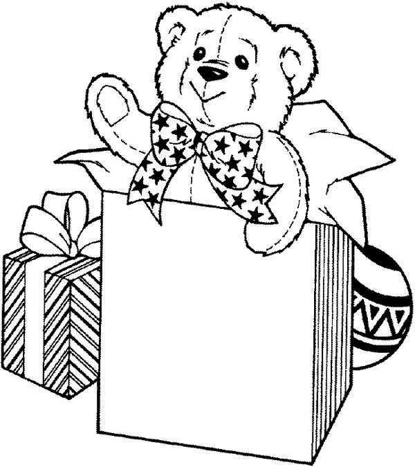 Teddy Bear, : Teddy Bear for Birthday Present Coloring Page