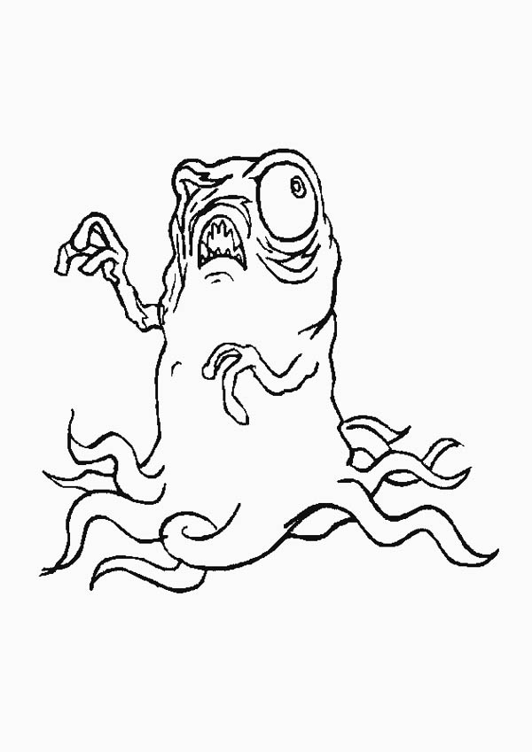 Monsters, : Terrifying Monster Coloring Page